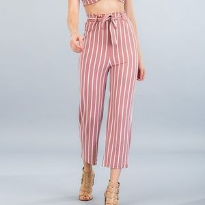 Pants - Striped Front Tie Pants